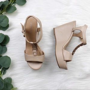 X-Appeal; Light Nude Wedges, Size 6